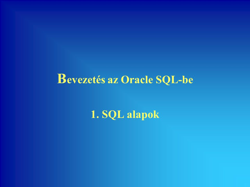 90 Bevezetés az Oracle SQL-be Szelektív hierarchikus keresés •Az egyik telephelyvezető, NAGY kimarad, de az alárendeltjei szerepelnek: •NAGY teljes ága kimarad: SQL> SELECT DISTINCT level,t_kod,a_kod,a_nev, 2 beosztas,fonok 3 FROM vallalat WHERE a_nev<>'NAGY' 4 CONNECT BY PRIOR a_kod=fonok 5 START WITH fonok IS NULL; SQL> SELECT DISTINCT level,t_kod,a_kod,a_nev, 2 beosztas,fonok 3 FROM vallalat 4 CONNECT BY PRIOR a_kod=fonok AND a_nev<>'NAGY' 5 START WITH fonok IS NULL;