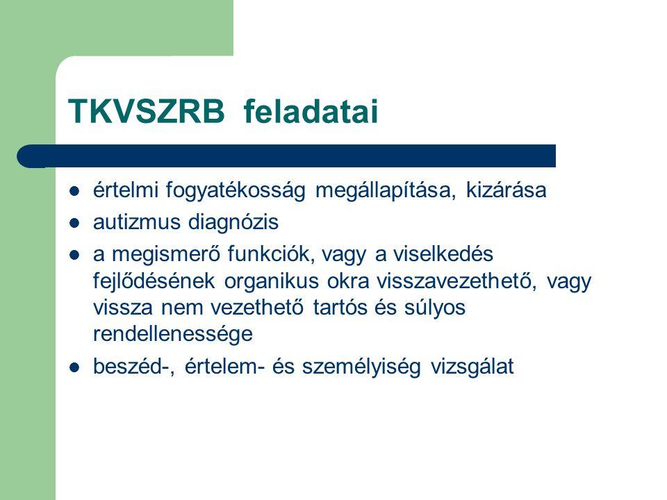 TKVSZRB feladatai  értelmi fogyatékosság megállapítása, kizárása  autizmus diagnózis  a megismerő funkciók, vagy a viselkedés fejlődésének organiku