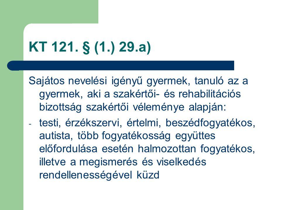 KT 121. § (1.) 29.a) Sajátos nevelési igényű gyermek, tanuló az a gyermek, aki a szakértői- és rehabilitációs bizottság szakértői véleménye alapján: -