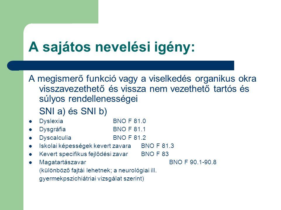 A sajátos nevelési igény: A megismerő funkció vagy a viselkedés organikus okra visszavezethető és vissza nem vezethető tartós és súlyos rendellenességei SNI a) és SNI b)  DyslexiaBNO F 81.0  DysgráfiaBNO F 81.1  DyscalculiaBNO F 81.2  Iskolai képességek kevert zavaraBNO F 81.3  Kevert specifikus fejlődési zavarBNO F 83  MagatartászavarBNO F 90.1-90.8 (különböző fajtái lehetnek; a neurológiai ill.