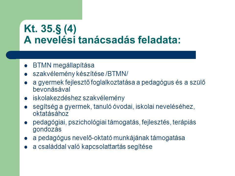 Kt. 35.§ (4) A nevelési tanácsadás feladata:  BTMN megállapítása  szakvélemény készítése /BTMN/  a gyermek fejlesztő foglalkoztatása a pedagógus és