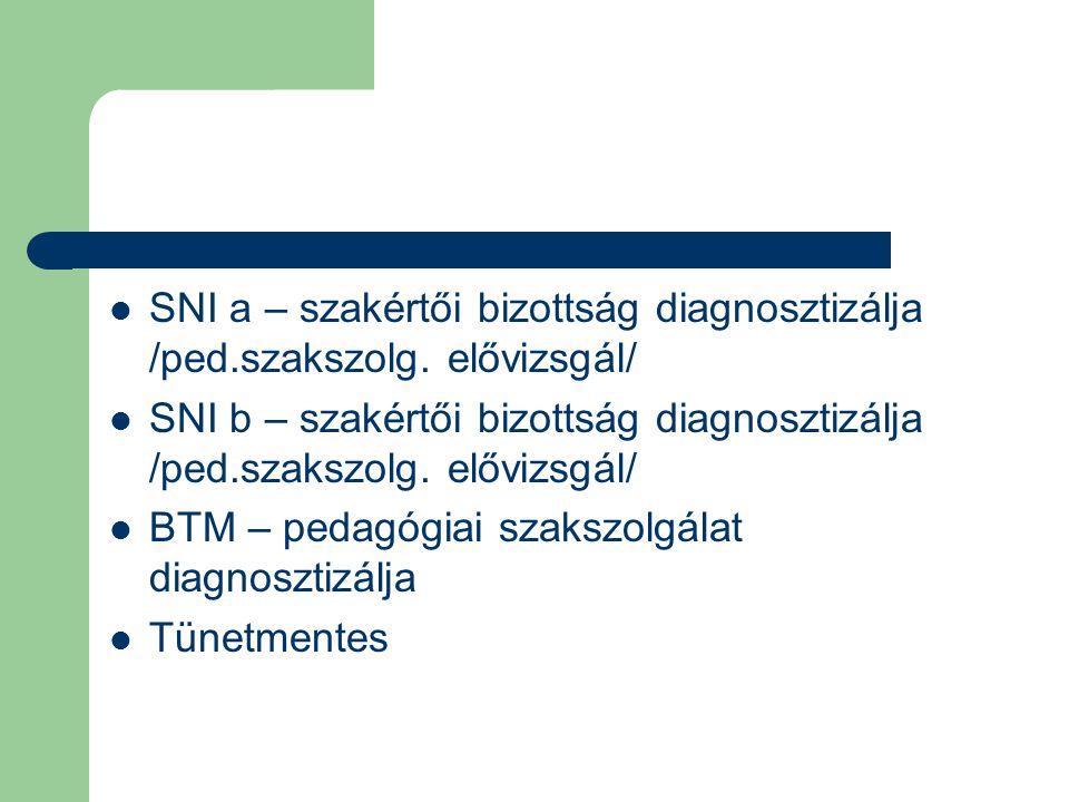  SNI a – szakértői bizottság diagnosztizálja /ped.szakszolg. elővizsgál/  SNI b – szakértői bizottság diagnosztizálja /ped.szakszolg. elővizsgál/ 