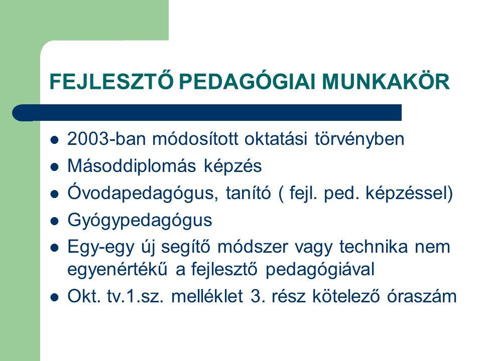 FEJLESZTŐ PEDAGÓGIAI MUNKAKÖR  2003-ban módosított oktatási törvényben  Másoddiplomás képzés  Óvodapedagógus, tanító ( fejl. ped. képzéssel)  Gyóg