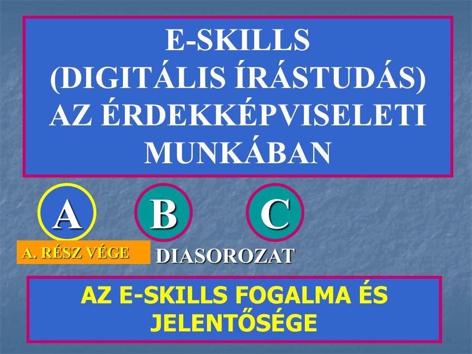 E-SKILLS (DIGITÁLIS ÍRÁSTUDÁS) AZ ÉRDEKKÉPVISELETI MUNKÁBAN AZ E-SKILLS FOGALMA ÉS JELENTŐSÉGE ABC DIASOROZAT A.