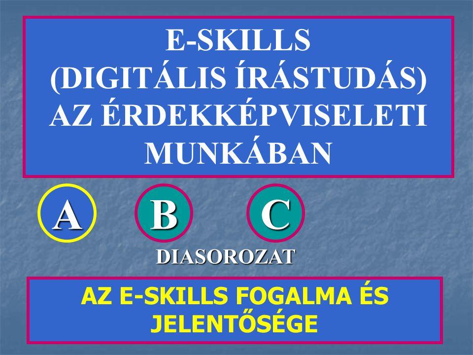 E-SKILLS (DIGITÁLIS ÍRÁSTUDÁS) AZ ÉRDEKKÉPVISELETI MUNKÁBAN AZ E-SKILLS FOGALMA ÉS JELENTŐSÉGE ABC DIASOROZAT