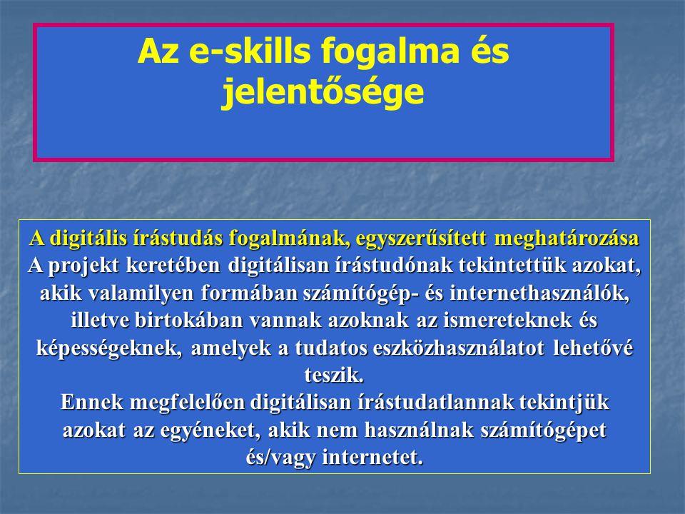 Az e-skills fogalma és jelentősége A digitális írástudás fogalmának, egyszerűsített meghatározása A projekt keretében digitálisan írástudónak tekintettük azokat, akik valamilyen formában számítógép- és internethasználók, illetve birtokában vannak azoknak az ismereteknek és képességeknek, amelyek a tudatos eszközhasználatot lehetővé teszik.