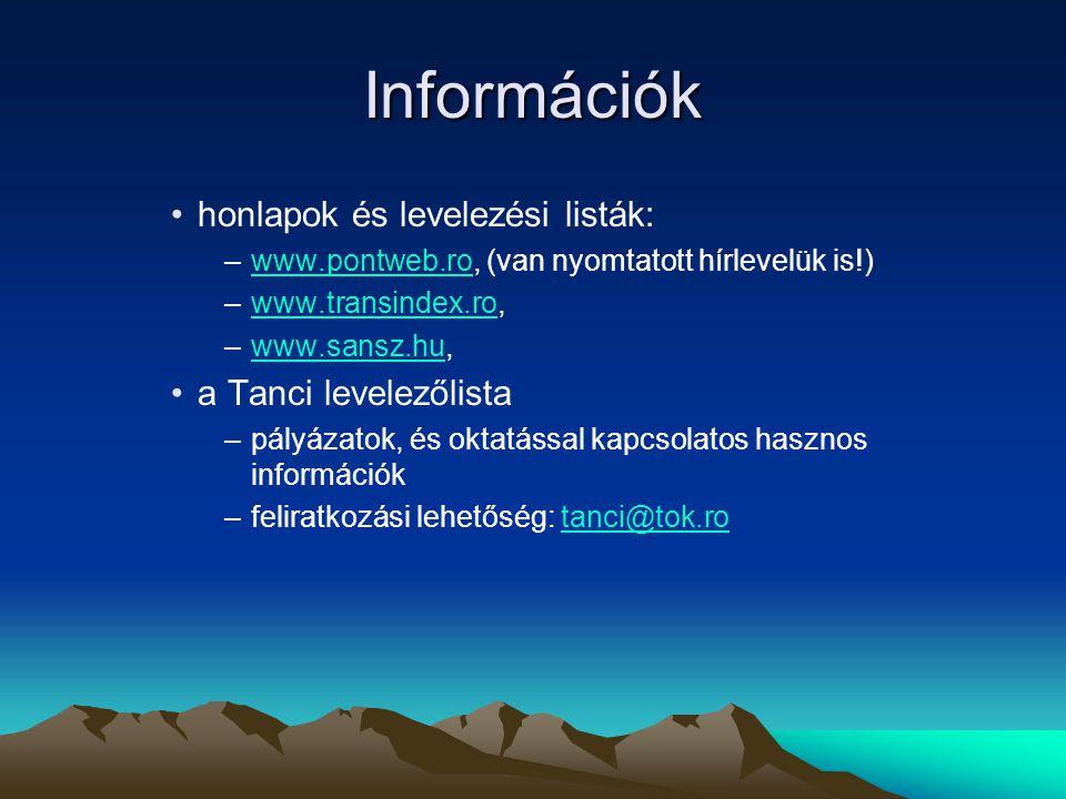 Információk •honlapok és levelezési listák: –www.pontweb.ro, (van nyomtatott hírlevelük is!)www.pontweb.ro –www.transindex.ro,www.transindex.ro –www.sansz.hu,www.sansz.hu •a Tanci levelezőlista –pályázatok, és oktatással kapcsolatos hasznos információk –feliratkozási lehetőség: tanci@tok.rotanci@tok.ro