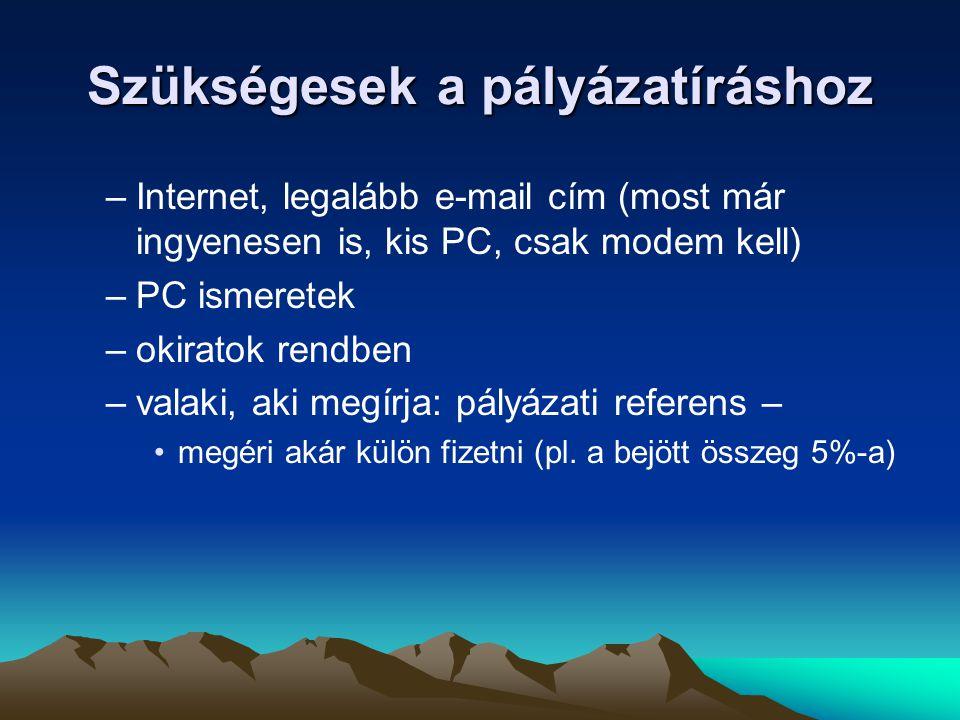 Szükségesek a pályázatíráshoz –Internet, legalább e-mail cím (most már ingyenesen is, kis PC, csak modem kell) –PC ismeretek –okiratok rendben –valaki, aki megírja: pályázati referens – •megéri akár külön fizetni (pl.