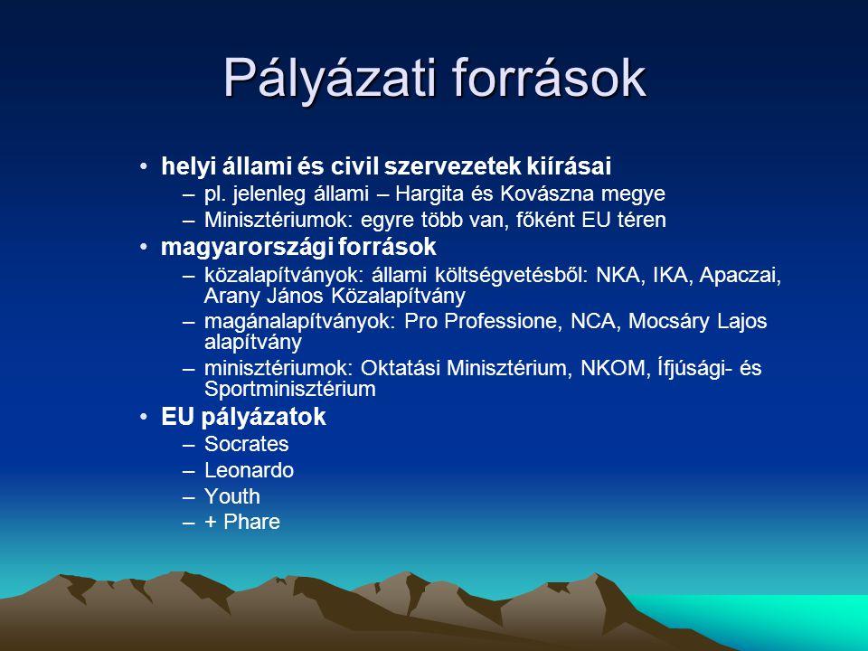 Pályázati források •helyi állami és civil szervezetek kiírásai –pl.