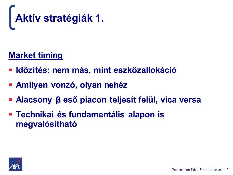 Presentation Title - From – 00/00/00 - 10 Aktív stratégiák 1. Market timing  Időzítés: nem más, mint eszközallokáció  Amilyen vonzó, olyan nehéz  A