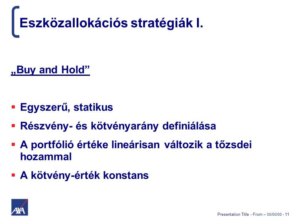 """Presentation Title - From – 00/00/00 - 11 Eszközallokációs stratégiák I. """"Buy and Hold""""  Egyszerű, statikus  Részvény- és kötvényarány definiálása """