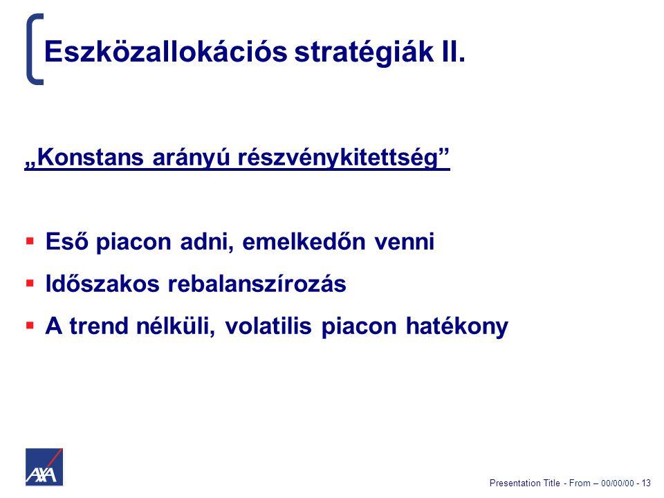 """Presentation Title - From – 00/00/00 - 13 Eszközallokációs stratégiák II. """"Konstans arányú részvénykitettség""""  Eső piacon adni, emelkedőn venni  Idő"""