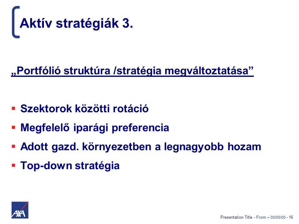 """Presentation Title - From – 00/00/00 - 16 Aktív stratégiák 3. """"Portfólió struktúra /stratégia megváltoztatása""""  Szektorok közötti rotáció  Megfelelő"""