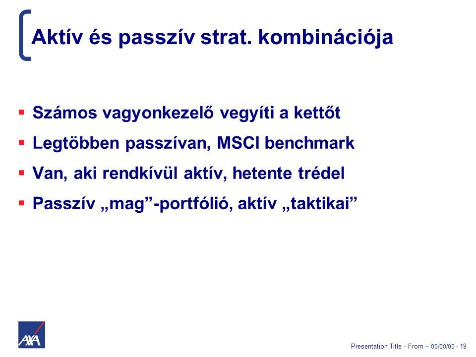 Presentation Title - From – 00/00/00 - 19 Aktív és passzív strat. kombinációja  Számos vagyonkezelő vegyíti a kettőt  Legtöbben passzívan, MSCI benc