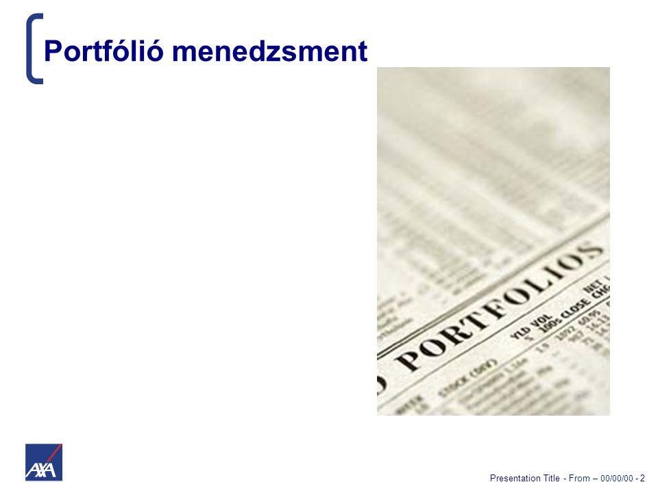 Presentation Title - From – 00/00/00 - 3 A főbb lépések  Eszközallokáció  Értékpapír univerzum  Instrumentum kiválasztás  Értékpapír súlyok beállítása  Értékpapír kereskedés folyamata