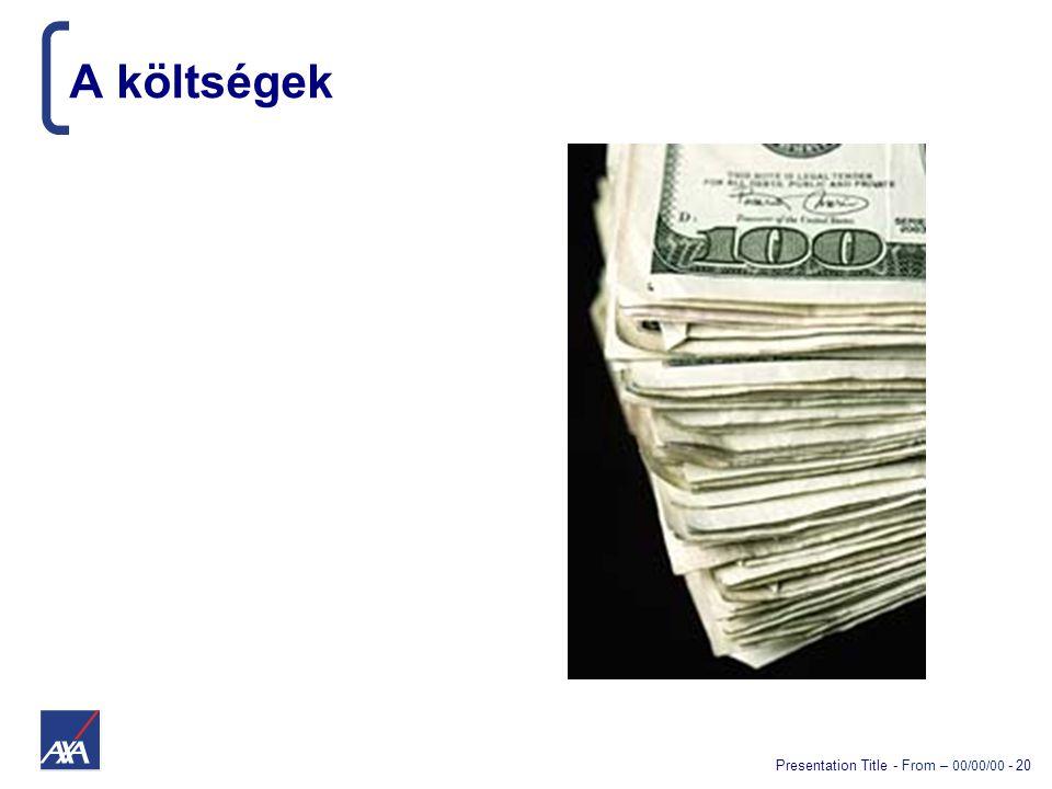 Presentation Title - From – 00/00/00 - 20 A költségek