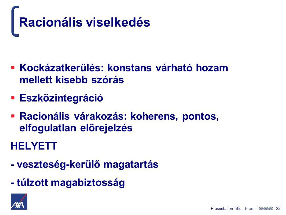 Presentation Title - From – 00/00/00 - 23 Racionális viselkedés  Kockázatkerülés: konstans várható hozam mellett kisebb szórás  Eszközintegráció  R
