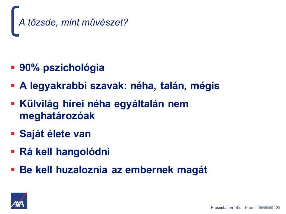 Presentation Title - From – 00/00/00 - 29 A tőzsde, mint művészet?  90% pszichológia  A legyakrabbi szavak: néha, talán, mégis  Külvilág hírei néha