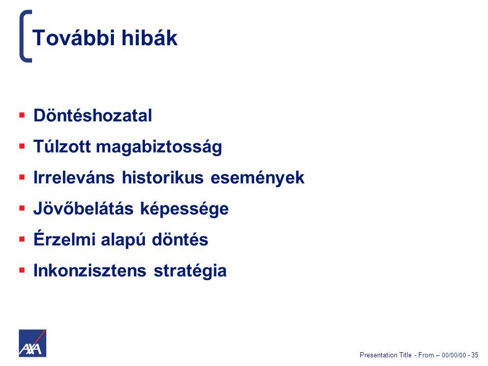 Presentation Title - From – 00/00/00 - 35 További hibák  Döntéshozatal  Túlzott magabiztosság  Irreleváns historikus események  Jövőbelátás képess