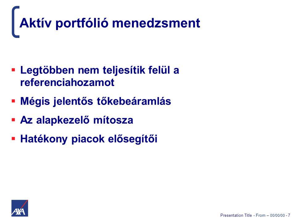 Presentation Title - From – 00/00/00 - 8 Aktív stratégiák  Piaci időzítés  Részvényszelekció  Portfólió struktúra /stratégia megváltoztatása  Hosszútávú befektetési koncepció