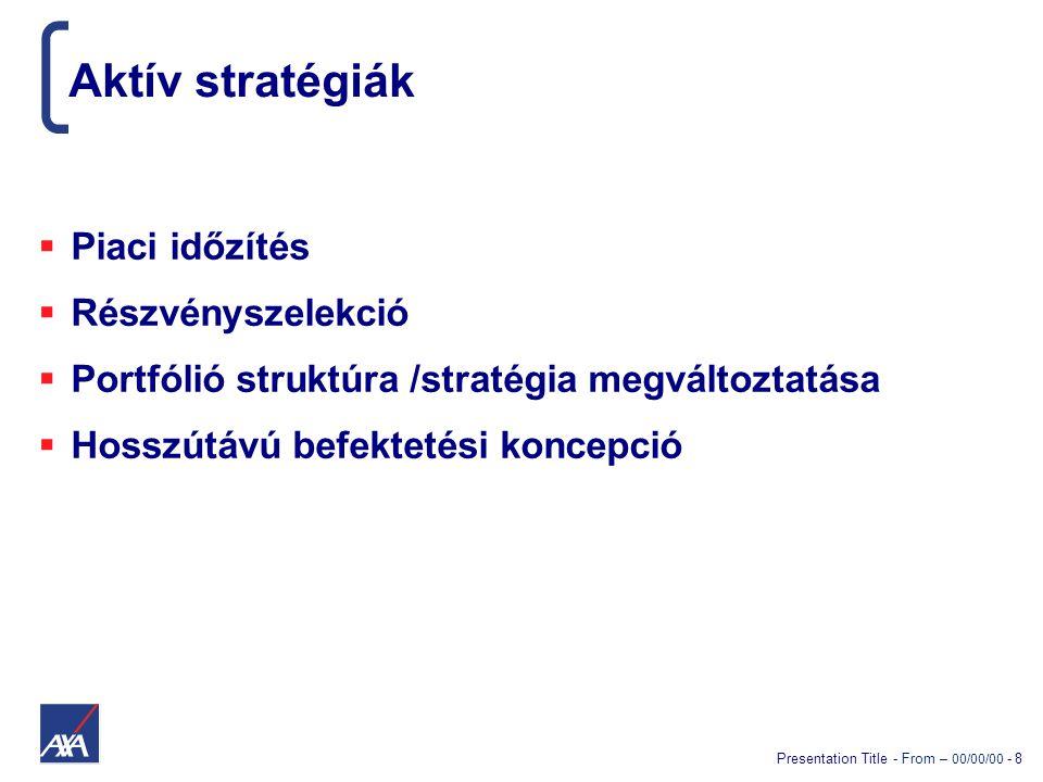 Presentation Title - From – 00/00/00 - 8 Aktív stratégiák  Piaci időzítés  Részvényszelekció  Portfólió struktúra /stratégia megváltoztatása  Hoss