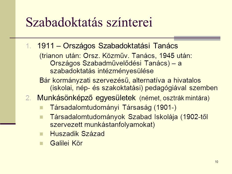 10 Szabadoktatás színterei 1. 1911 – Országos Szabadoktatási Tanács (trianon után: Orsz. Közműv. Tanács, 1945 után: Országos Szabadművelődési Tanács)