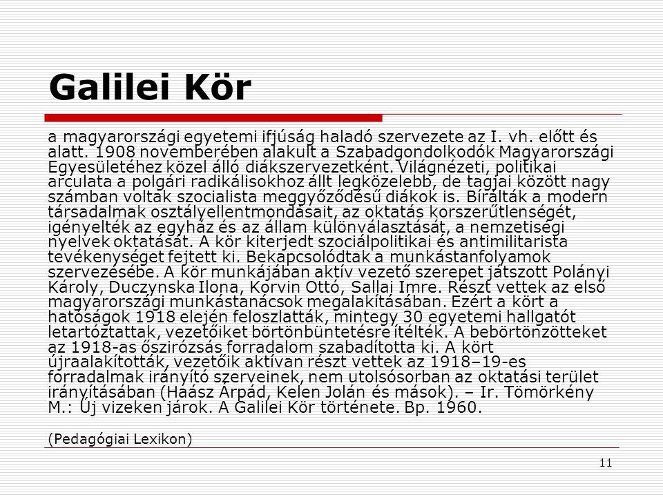 11 Galilei Kör a magyarországi egyetemi ifjúság haladó szervezete az I.