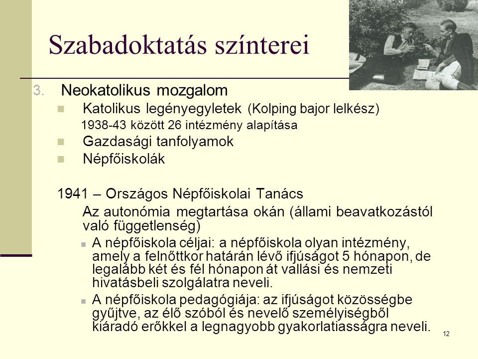 12 Szabadoktatás színterei 3. Neokatolikus mozgalom  Katolikus legényegyletek (Kolping bajor lelkész) 1938-43 között 26 intézmény alapítása  Gazdasá