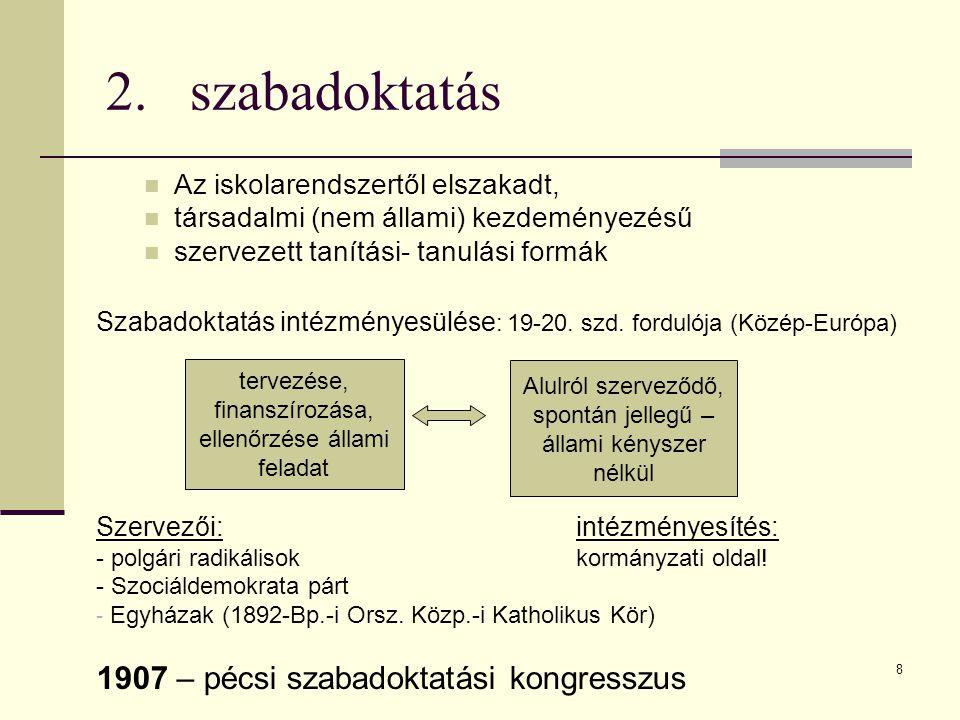 8 2.szabadoktatás  Az iskolarendszertől elszakadt,  társadalmi (nem állami) kezdeményezésű  szervezett tanítási- tanulási formák Szabadoktatás intézményesülése : 19-20.