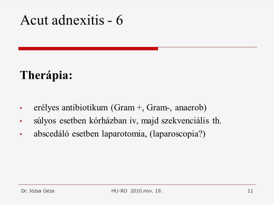 Dr. Józsa GézaHU-RO 2010.nov. 19.11 Acut adnexitis - 6 Therápia: • erélyes antibiotikum (Gram +, Gram-, anaerob) • súlyos esetben kórházban iv, majd s