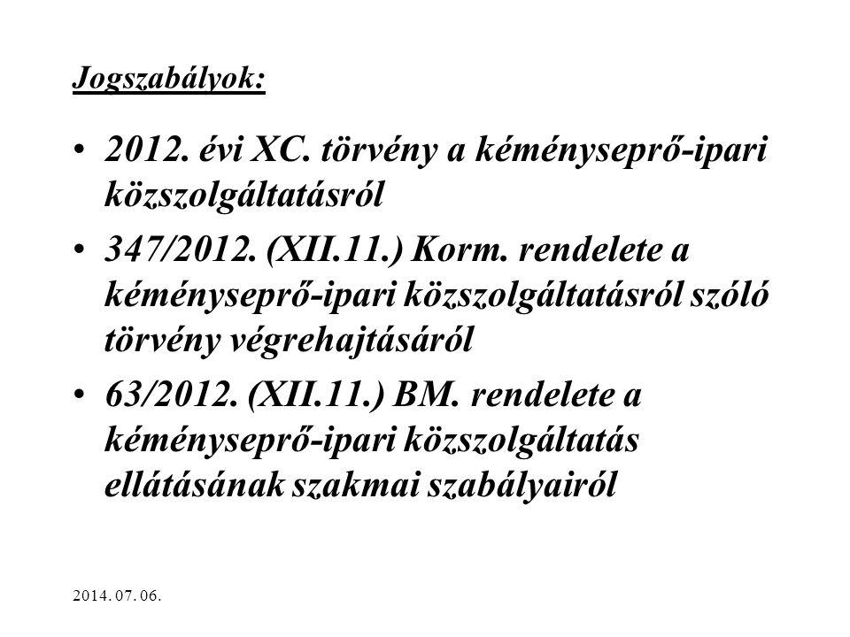 Jogszabályok: •2012.évi XC. törvény a kéményseprő-ipari közszolgáltatásról •347/2012.