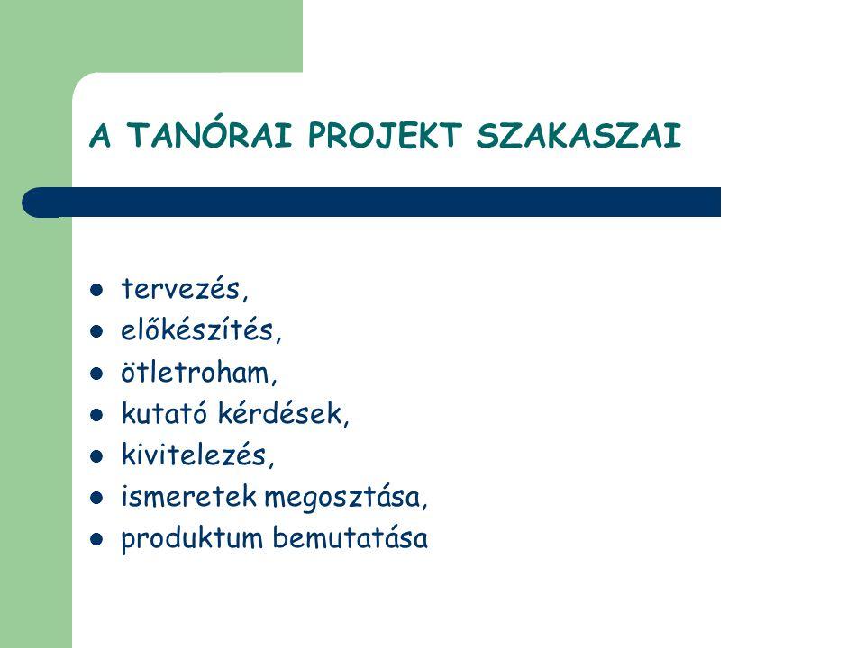 A TANÓRAI PROJEKT SZAKASZAI  tervezés,  előkészítés,  ötletroham,  kutató kérdések,  kivitelezés,  ismeretek megosztása,  produktum bemutatása