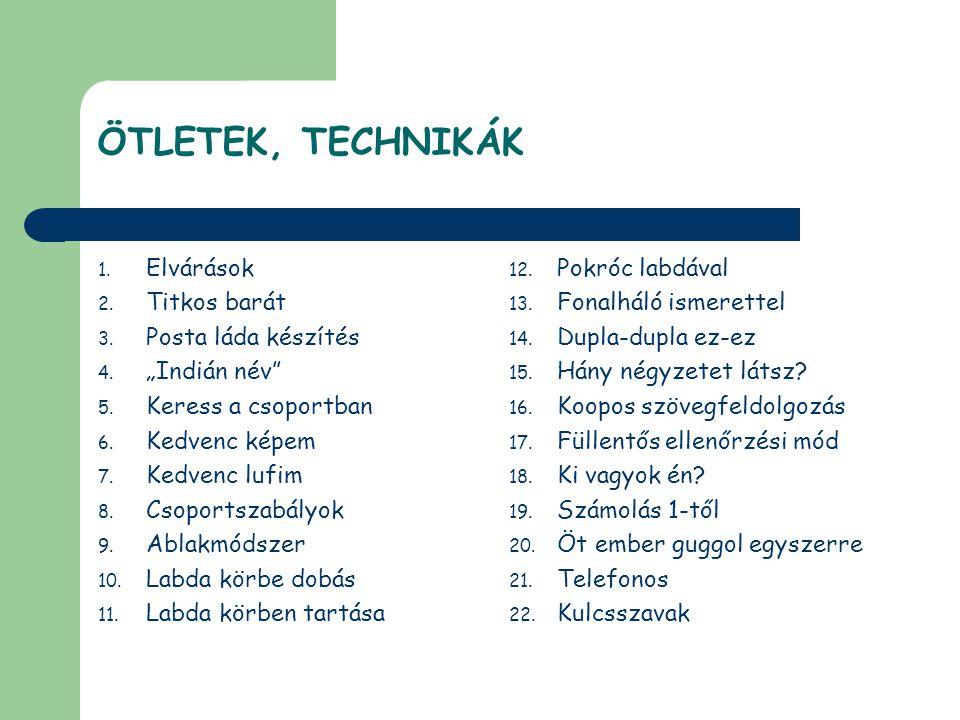 ÖTLETEK, TECHNIKÁK 1.Elvárások 2. Titkos barát 3.
