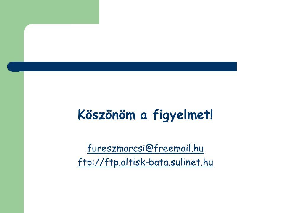 Köszönöm a figyelmet! fureszmarcsi@freemail.hu ftp://ftp.altisk-bata.sulinet.hu