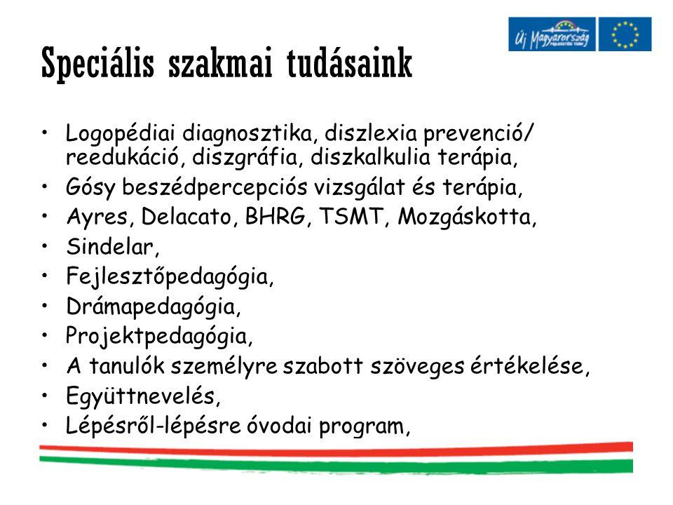 Speciális szakmai tudásaink •Logopédiai diagnosztika, diszlexia prevenció/ reedukáció, diszgráfia, diszkalkulia terápia, •Gósy beszédpercepciós vizsgá