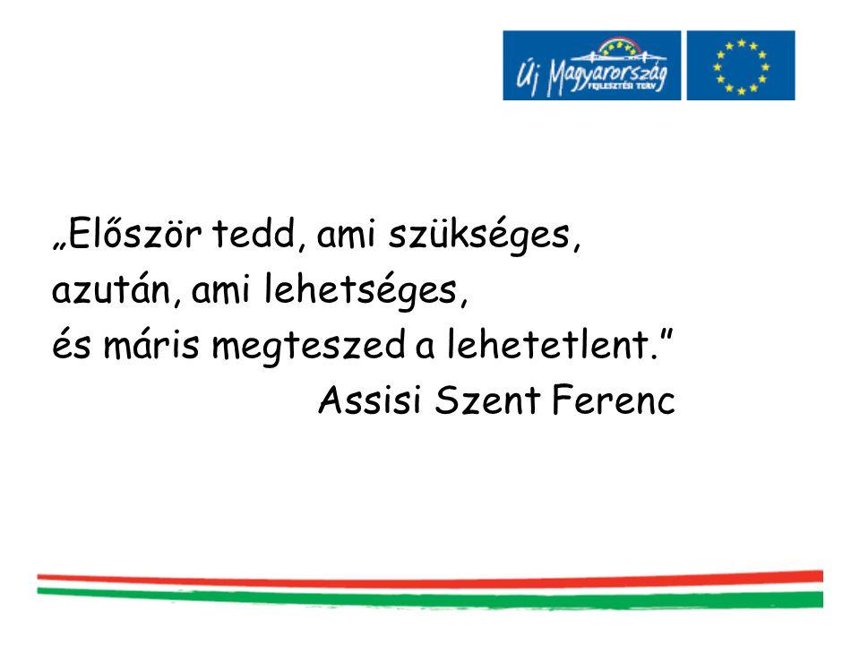 """""""Először tedd, ami szükséges, azután, ami lehetséges, és máris megteszed a lehetetlent."""" Assisi Szent Ferenc"""