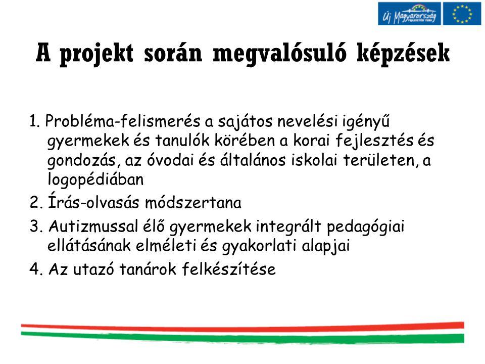 A projekt során megvalósuló képzések 1. Probléma-felismerés a sajátos nevelési igényű gyermekek és tanulók körében a korai fejlesztés és gondozás, az