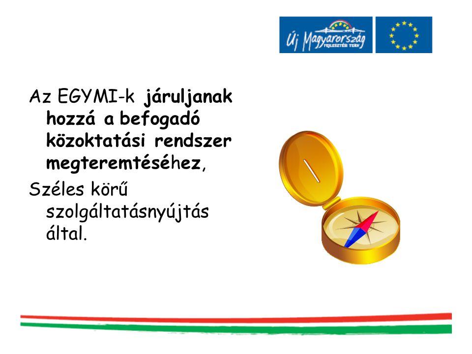 Az EGYMI-k járuljanak hozzá a befogadó közoktatási rendszer megteremtéséhez, Széles körű szolgáltatásnyújtás által.