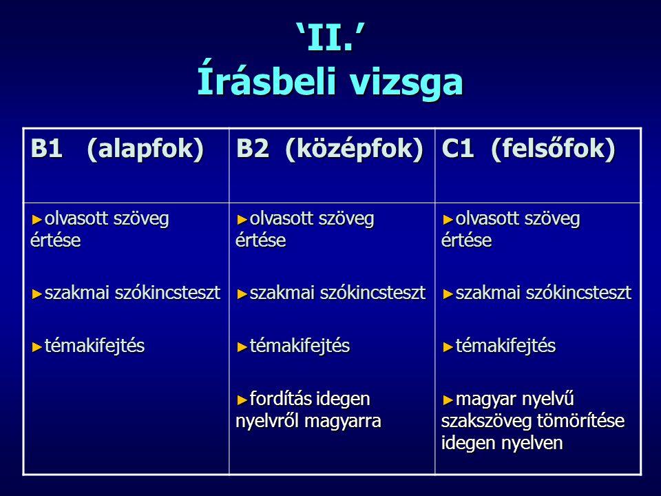'II.' Írásbeli vizsga B1 (alapfok) B2 (középfok) C1 (felsőfok) ► olvasott szöveg értése ► szakmai szókincsteszt ► témakifejtés ► olvasott szöveg értés
