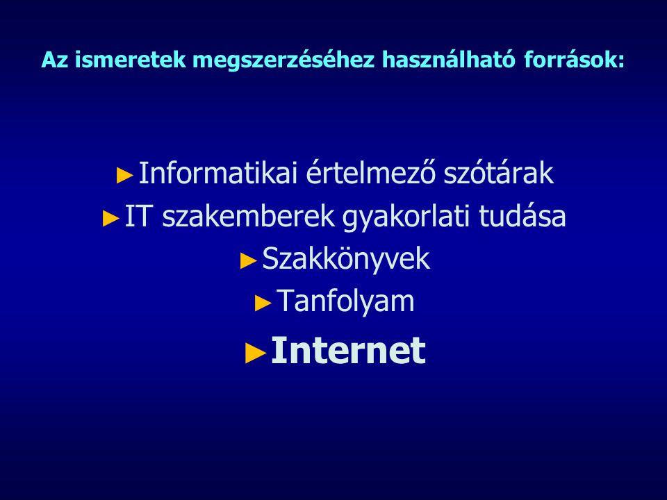 Az ismeretek megszerzéséhez használható források: ► ► Informatikai értelmező szótárak ► ► IT szakemberek gyakorlati tudása ► ► Szakkönyvek ► ► Tanfolyam ► ► Internet