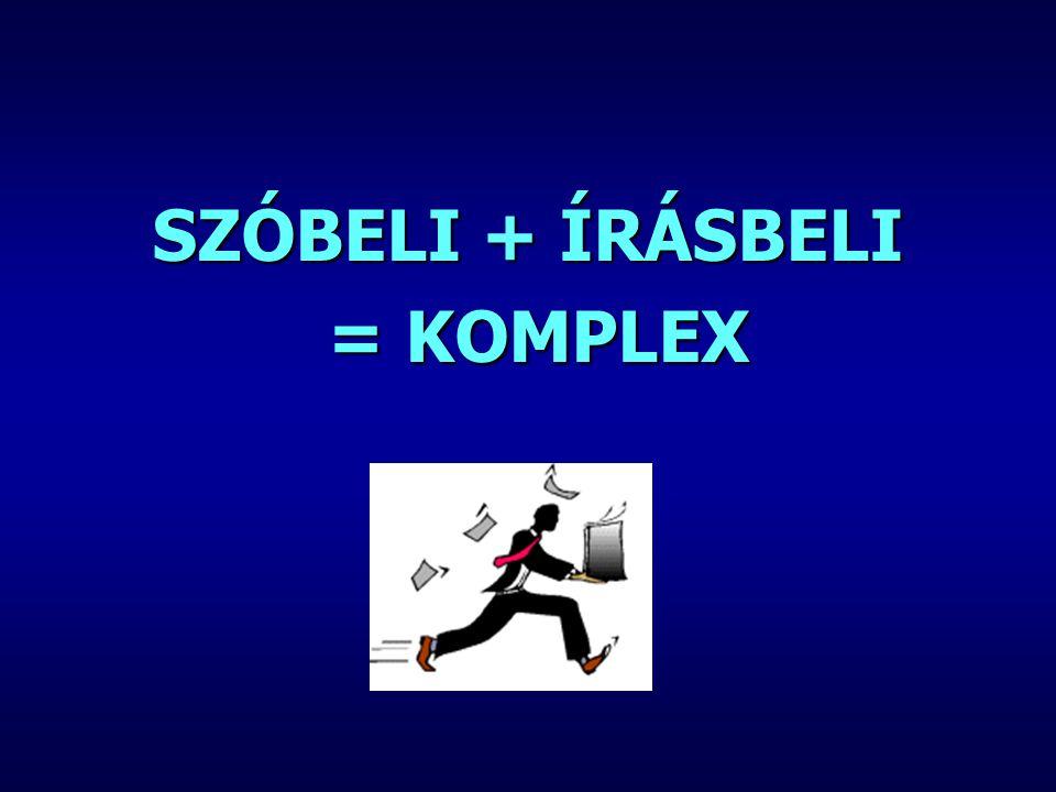 SZÓBELI + ÍRÁSBELI = KOMPLEX = KOMPLEX