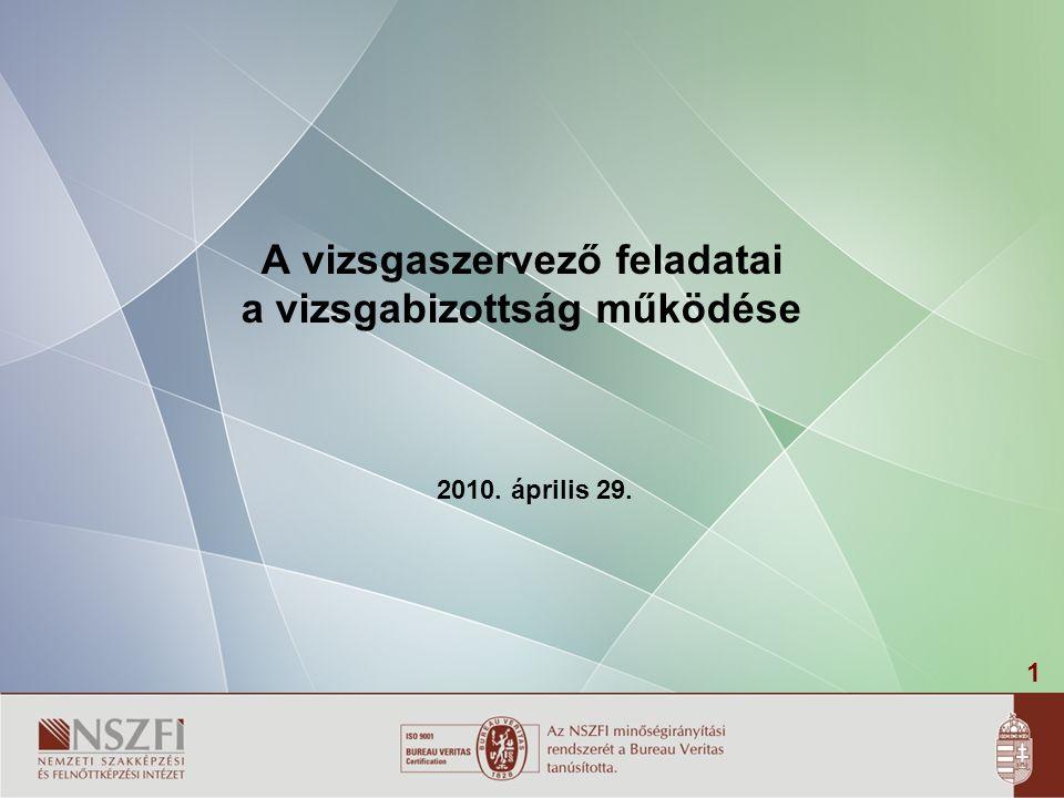 1 A vizsgaszervező feladatai a vizsgabizottság működése 2010. április 29.