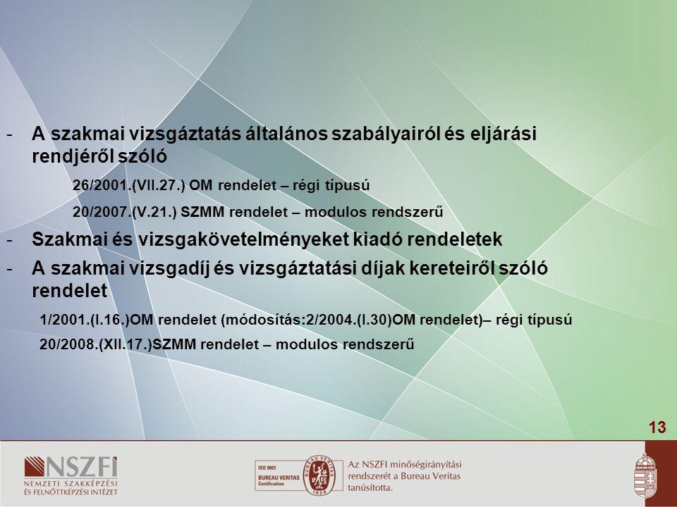 13 -A szakmai vizsgáztatás általános szabályairól és eljárási rendjéről szóló 26/2001.(VII.27.) OM rendelet – régi típusú 20/2007.(V.21.) SZMM rendele