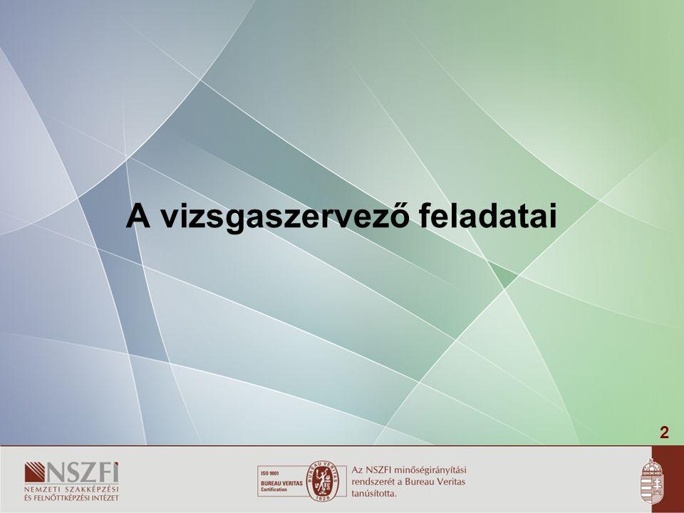 13 -A szakmai vizsgáztatás általános szabályairól és eljárási rendjéről szóló 26/2001.(VII.27.) OM rendelet – régi típusú 20/2007.(V.21.) SZMM rendelet – modulos rendszerű -Szakmai és vizsgakövetelményeket kiadó rendeletek -A szakmai vizsgadíj és vizsgáztatási díjak kereteiről szóló rendelet 1/2001.(I.16.)OM rendelet (módosítás:2/2004.(I.30)OM rendelet)– régi típusú 20/2008.(XII.17.)SZMM rendelet – modulos rendszerű