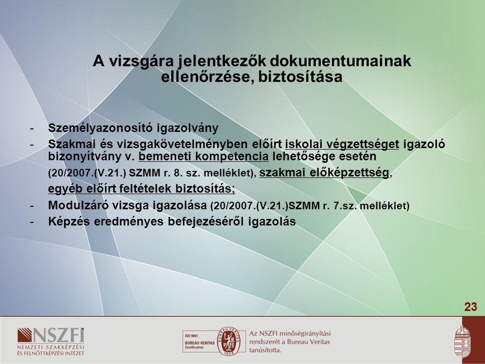 23 A vizsgára jelentkezők dokumentumainak ellenőrzése, biztosítása -Személyazonosító igazolvány -Szakmai és vizsgakövetelményben előírt iskolai végzet