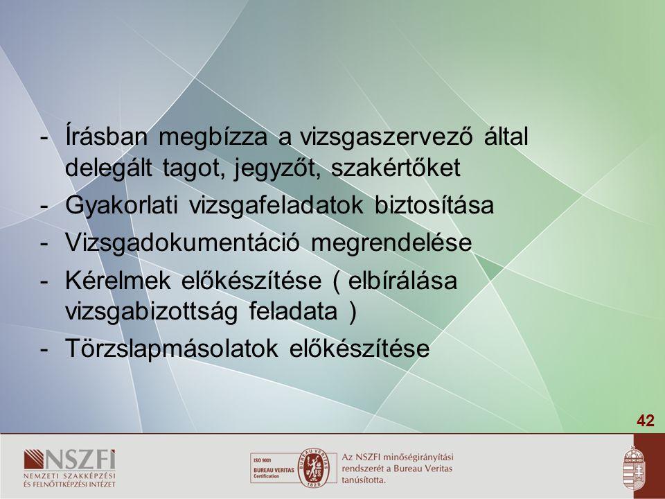 42 -Írásban megbízza a vizsgaszervező által delegált tagot, jegyzőt, szakértőket -Gyakorlati vizsgafeladatok biztosítása -Vizsgadokumentáció megrendel