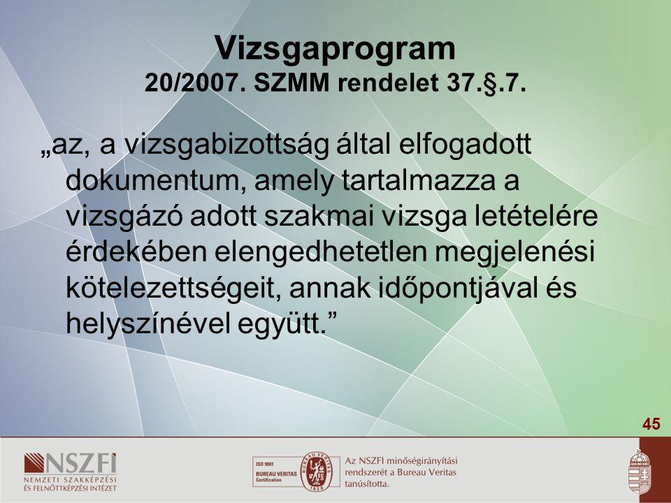 """45 Vizsgaprogram 20/2007. SZMM rendelet 37.§.7. """" az, a vizsgabizottság által elfogadott dokumentum, amely tartalmazza a vizsgázó adott szakmai vizsga"""