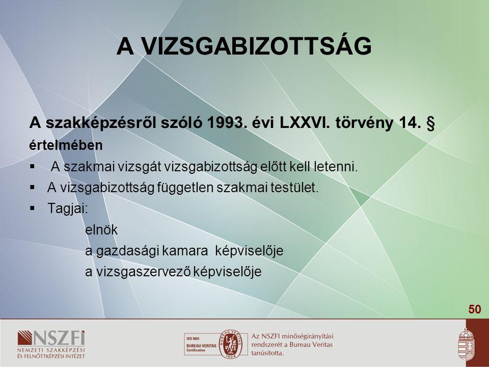 50 A VIZSGABIZOTTSÁG A szakképzésről szóló 1993. évi LXXVI. törvény 14. § értelmében  A szakmai vizsgát vizsgabizottság előtt kell letenni.  A vizsg