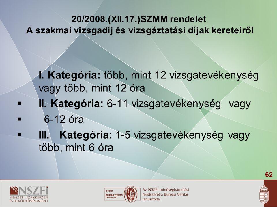 62 20/2008.(XII.17.)SZMM rendelet A szakmai vizsgadíj és vizsgáztatási díjak kereteiről I. Kategória: több, mint 12 vizsgatevékenység vagy több, mint