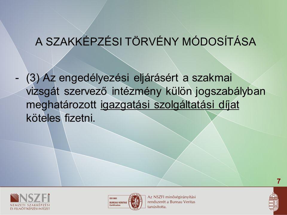 58 A szakmai vizsga jegyzője A 20/2007.(V.21.) SZMM r.